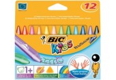 Creioane cerate plastifiate Plastidecor Triunghiulare Bic 12/set