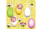 Servetele Paste - Oua colorate cu flori